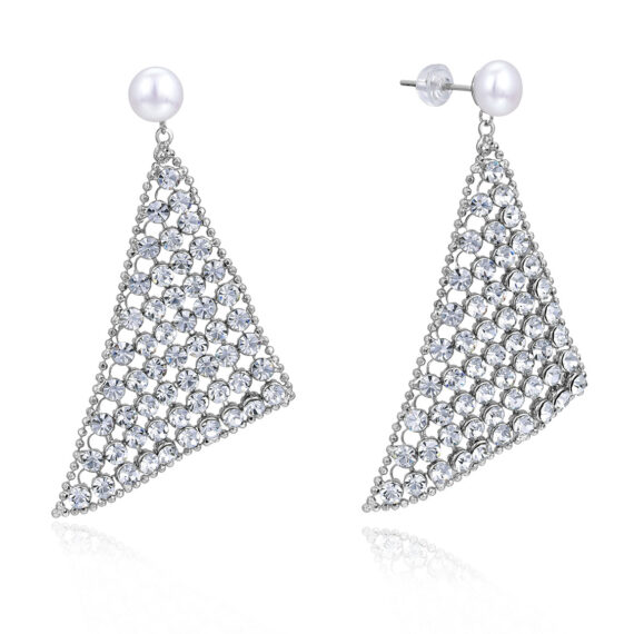 7.5mm Freshwater Button Pearl Mesh Earrings in Sterling Silver