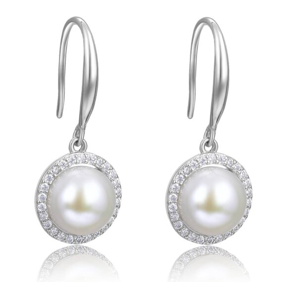 Freshwater Button Pearl Hook Earrings in Sterling Silver