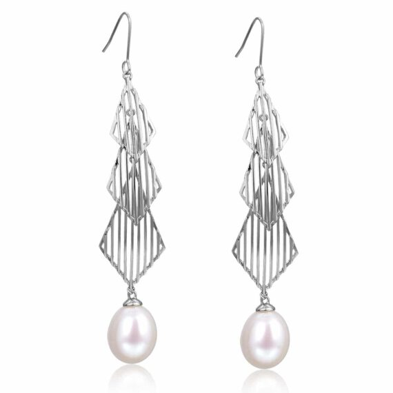Freshwater Cultured Pearl Fluid Drop Earrings in Sterling Silver