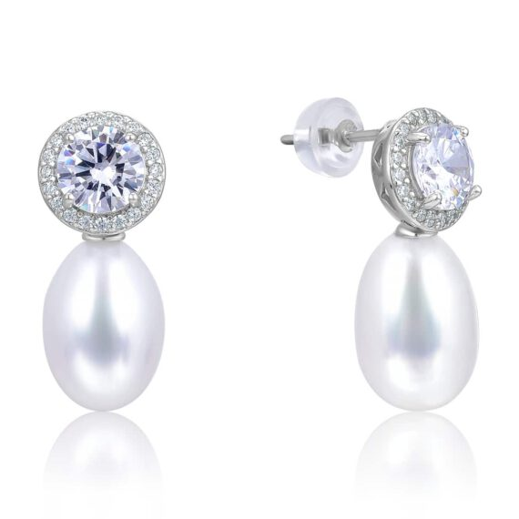White Freshwater Cultured Drop Pearl Earrings in Sterling Silver