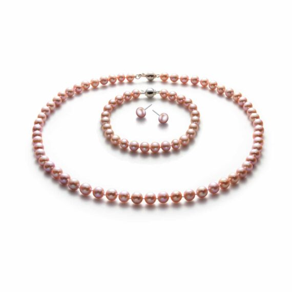 7-8mm Pink Freshwater Cultured Pearl Set