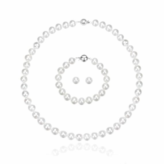 Classic 10-11mm White Freshwater Pearl Necklace Set